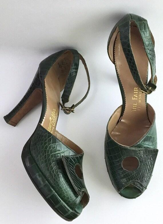 Sale! 1940s Andrew Geller green reptile platforms