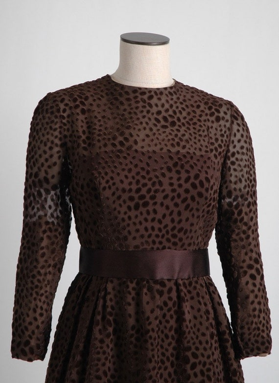 1960s 70s Mollie Parnis Brown Burnout Velvet Dres… - image 5