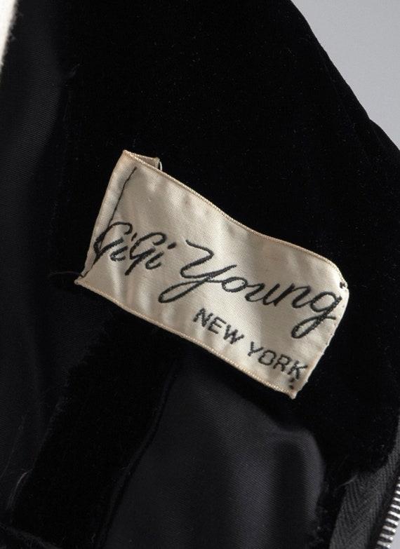 1950s Gigi Young black velvet + taffeta ruffle dr… - image 10