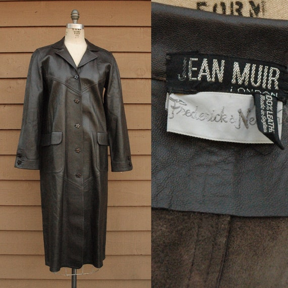 Vintage Jean Muir Brown Leather Coat With Star But