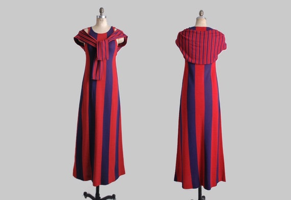 1960s 70s Rudi Gernreich Striped Maxi Dress * red