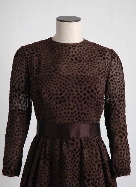 1960s 70s Mollie Parnis Brown Burnout Velvet Dres… - image 3