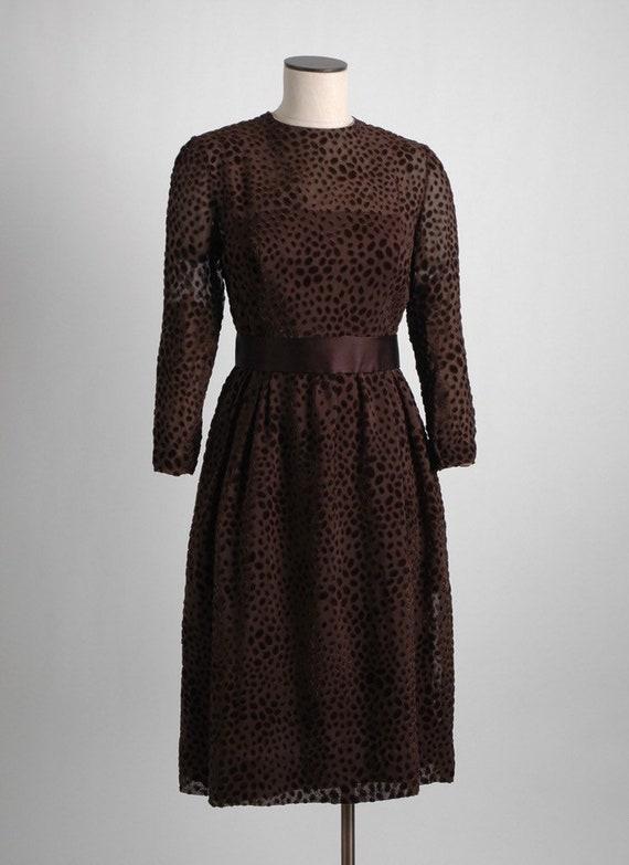 1960s 70s Mollie Parnis Brown Burnout Velvet Dres… - image 2