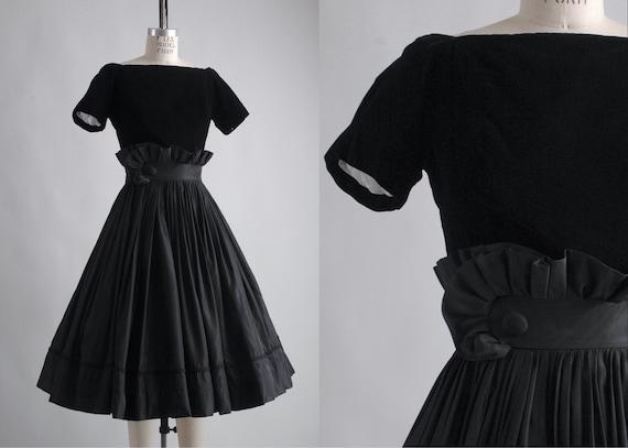 1950s Gigi Young black velvet + taffeta ruffle dr… - image 1