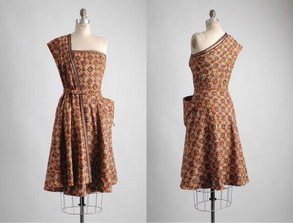 1940s Pompadour Brown Cotton Sari Dress (Like Tina