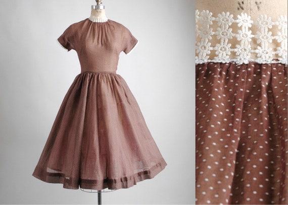 1950s Sheer Brown Cotton + White Dot Dress