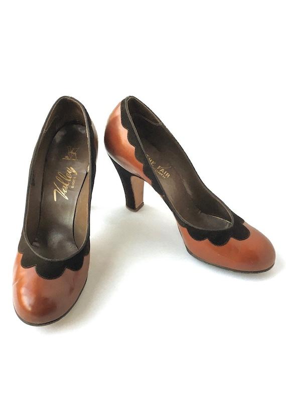 1940s Valley Brown Suede + Leather Heels