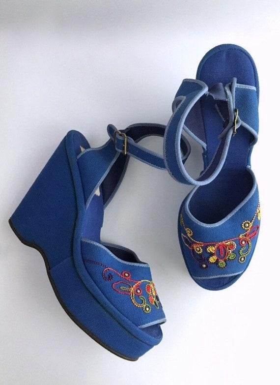 Sale! RARE 1940s blue Ryder sandal platforms * SH0