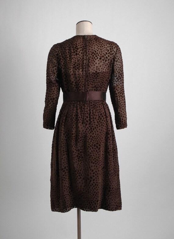 1960s 70s Mollie Parnis Brown Burnout Velvet Dres… - image 7