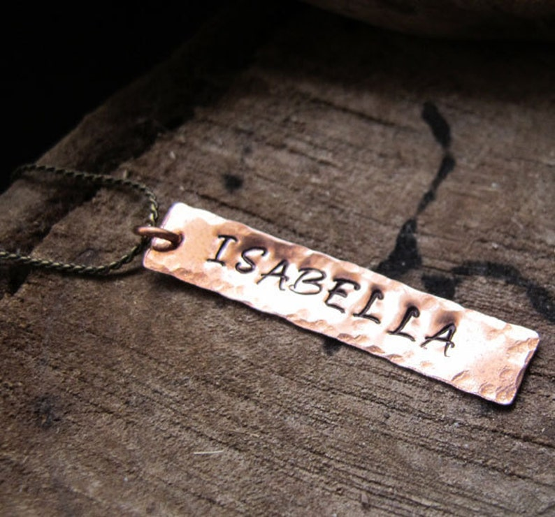 Handmade Hammered Bar Personalized Rectangle Tag with Name Custom pendant for Necklaces Long Rectangle Bar Pendant Copper Engraved Charm