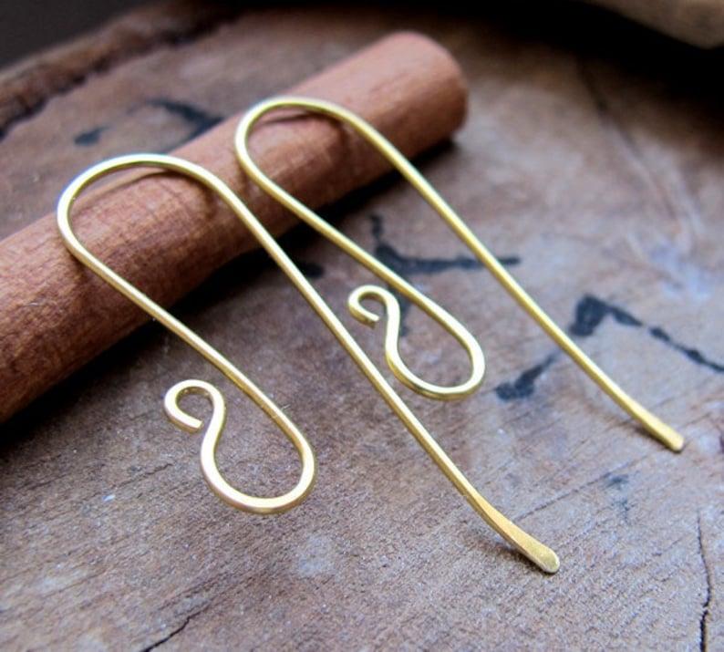 04eb93f44 Elegant Brass Long Hook Ear Wires. Artisan Earwires Findings | Etsy