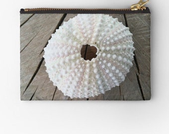 Printed flat Zipper Pouch, clutch, Cosmetic Bag, Makeup Bag, Toiletry Bag, gift, sea egg on wood