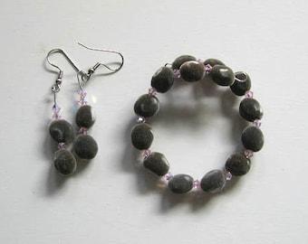 Jewelry set, Hawaiian mgambo seeds and rosaline AB Swarovski crystals, bracelet, earrings