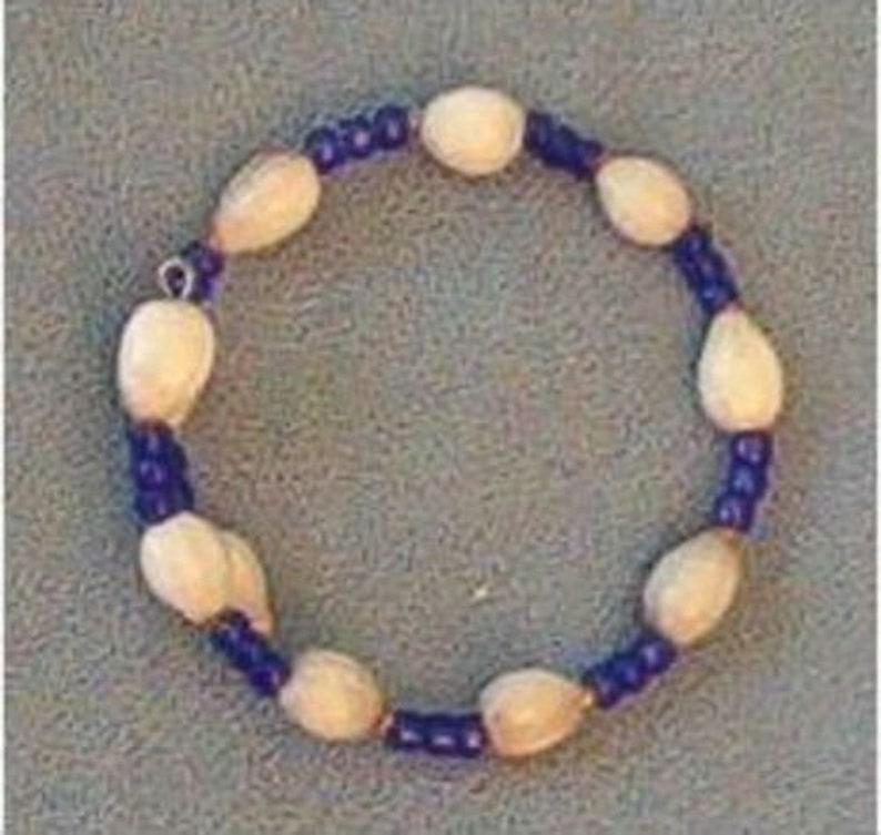 White Hawaiian Job's Tears bracelet with cobalt blue seed image 0