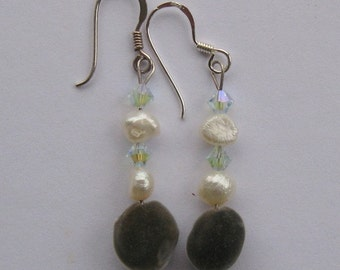 Sterling silver dangle earrings with Hawaiian mgambo seeds, light azore Swarovski crystals and white fresh water pearls