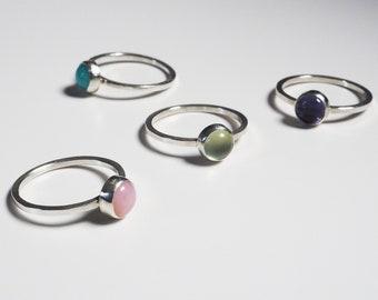 Simple Gemstone Silver Solitaire Stacking Rings, Pink Opal, Prehnite, Ammonite, Iolite Gemstone