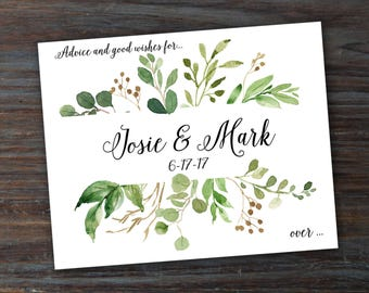 Wedding Advice Cards Personalized / Watercolor Greenery Style / Marriage Advice Cards/ Bride and Groom Names / Wedding Date