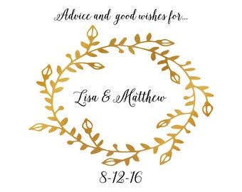 Personalized Wedding Advice Cards  / Gold Foil Look / Custom Printed/ Name and Wedding Date / Faux Foil Look