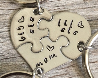 Gift For Mom, Gifts For Mom From Daughters, Mothers Day Gift, Personalized Mom Gift, Hand Stamped heart puzzle piece key chain set, mom