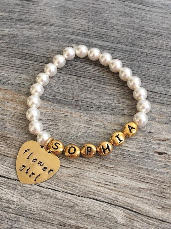 Pearl bracelet Flower girl bracelet White pearls bracelet stretchy braceletWedding  giftFlower girl jewlery Crystazzi pearls