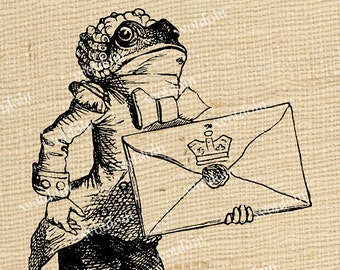 Frog Footman Alice In Wonderland Letter Messenger Fairytale Whimsy Invitations Image Transfers Instant Download Printable