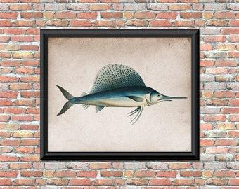 Swordfish Art Print Sports Fisherman Blue Fish Distressed Rustic Primitive Sea Ocean Animal Bathroom Decor Printable Digital Print