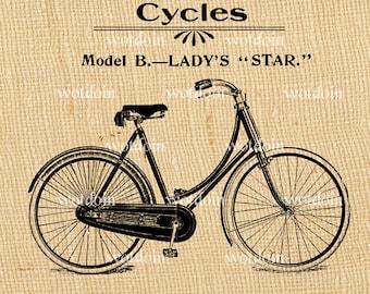 Vintage Bicycle Advertisement Printable Girls Bike Cycles Image Transfer Illustration Clip Art Digital Stamp