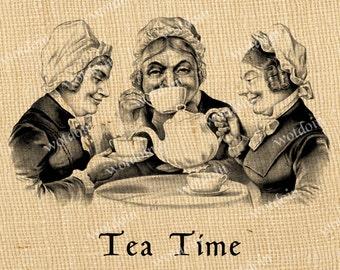 Girls Tea Party Best Friends Sisters Printable Tea Time Teapot Kettle Party Vintage Image Transfer Instant Download For Burlap Paper Goods