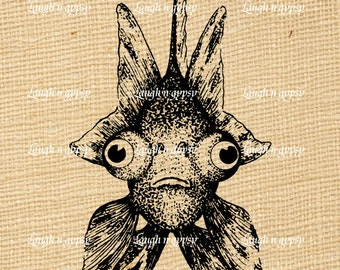 Goldfish Big Eyes Looking at You Cute Image Transfer Vintage Style Digital Delivery