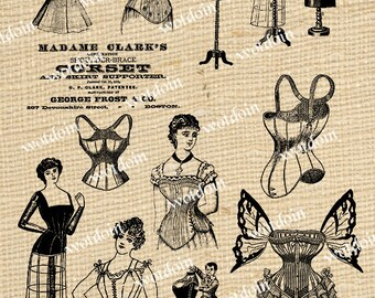 Corsets Dress Forms Vintage Ladies Fashion Under Garments Apparel Digital Image Collage Sheet Instant Download