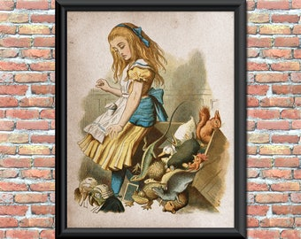 Alice in Wonderland Art Print Print Nursery Kids Children Fairy tale Home Office Decor Wall Hanging Art Vintage 8 1/2 by 11 inches