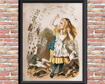 Alice in Wonderland Art Print Nursery Kids Children Fairytale Home Decor Wall Hanging Vintage Style Digital Printable