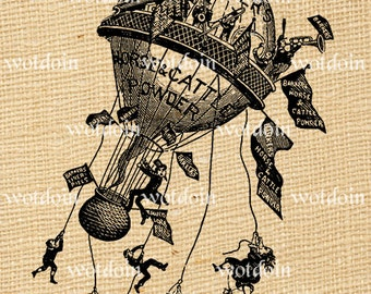 Instant Download Hot Air Balloon Vintage Advertisement People Horses Feed Image Transfer
