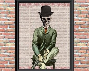 Skeleton Man Art Print Top Hat Business Suit Newspaper Background Home or Office Decor Wall Art Digital Halloween Printable
