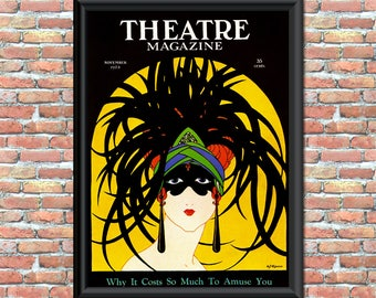 Theater Magazine Cover Printable Art Print Vintage 1900s Fashion Mask Illustration Home Office Decor Wall Sign