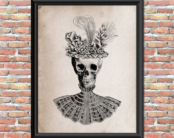 Antique Style Skull in Fancy Hat and Dress Halloween Art Print for Home Wall Decor Instant Download Digital Printable