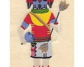 HUMMINGBIRD KACHINA DOLL - Machine embroidered Quilt Block (AzEB)