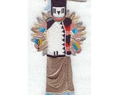 BUFFALO MAIDEN KACHINA Doll - Machine Embroidery Quilt Block (AzEB)