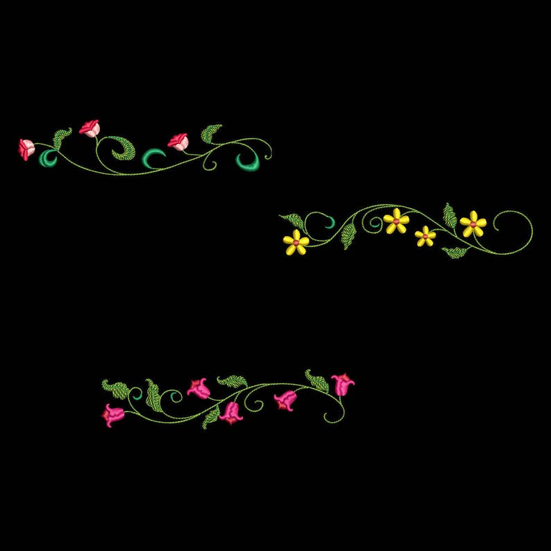 SIMPLE FLOWER BORDERS (5inch) - 10 Machine Embroidery Designs Instant  Download 5X5 hoop (AzEB)