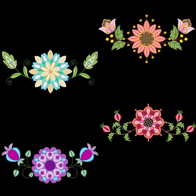 FLORAL BORDERS (4inch) - 10 Machine Embroidery Designs Instant Download 4x4  hoop (AzEB)