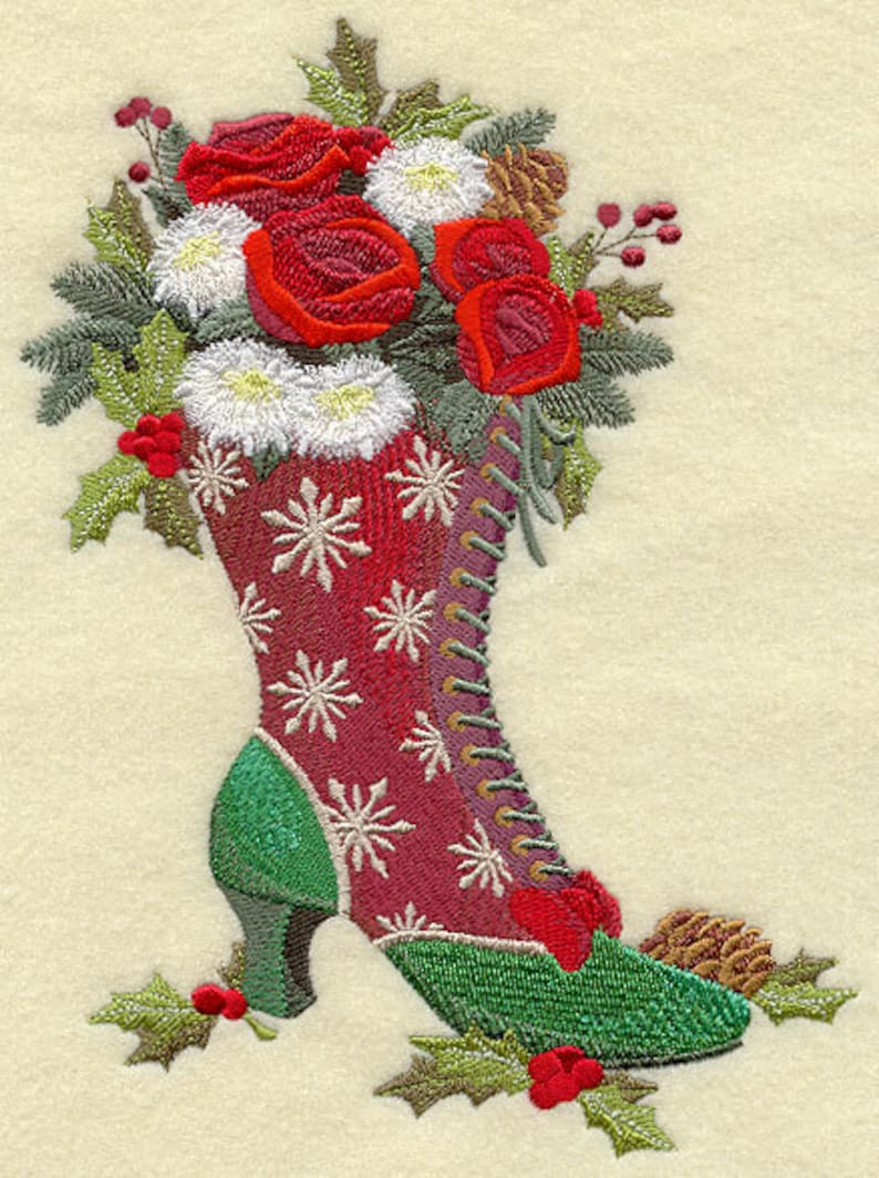 Azeb MRS CLAUS BOOT Bouquet Machine Embroidered Quilt Blocks