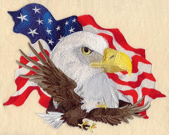 Machine Embroidered Quilt Blocks BALD EAGLE AzEB