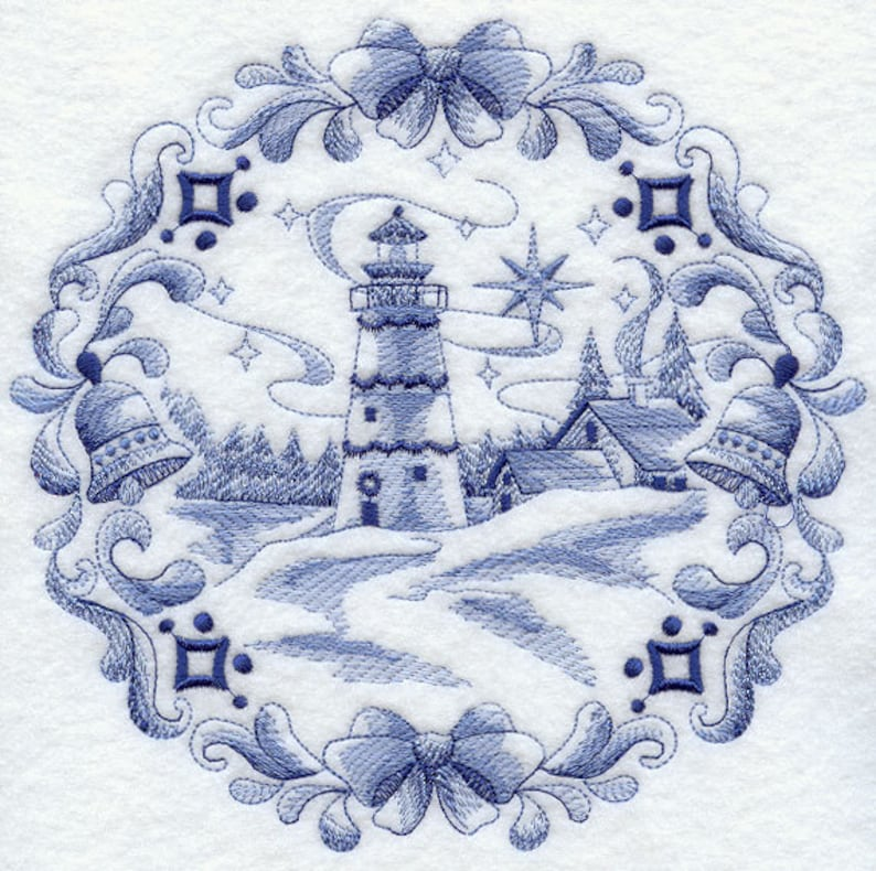 AzEB DELFT CHRISTMAS LIGHTHOUSE Machine Embroidery Quilt Blocks