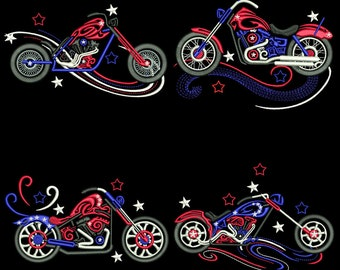 PATRIOTIC CHOPPERS (4inch) - 10 Machine Embroidery Designs Instant Download 4x4 hoop (AzEB)