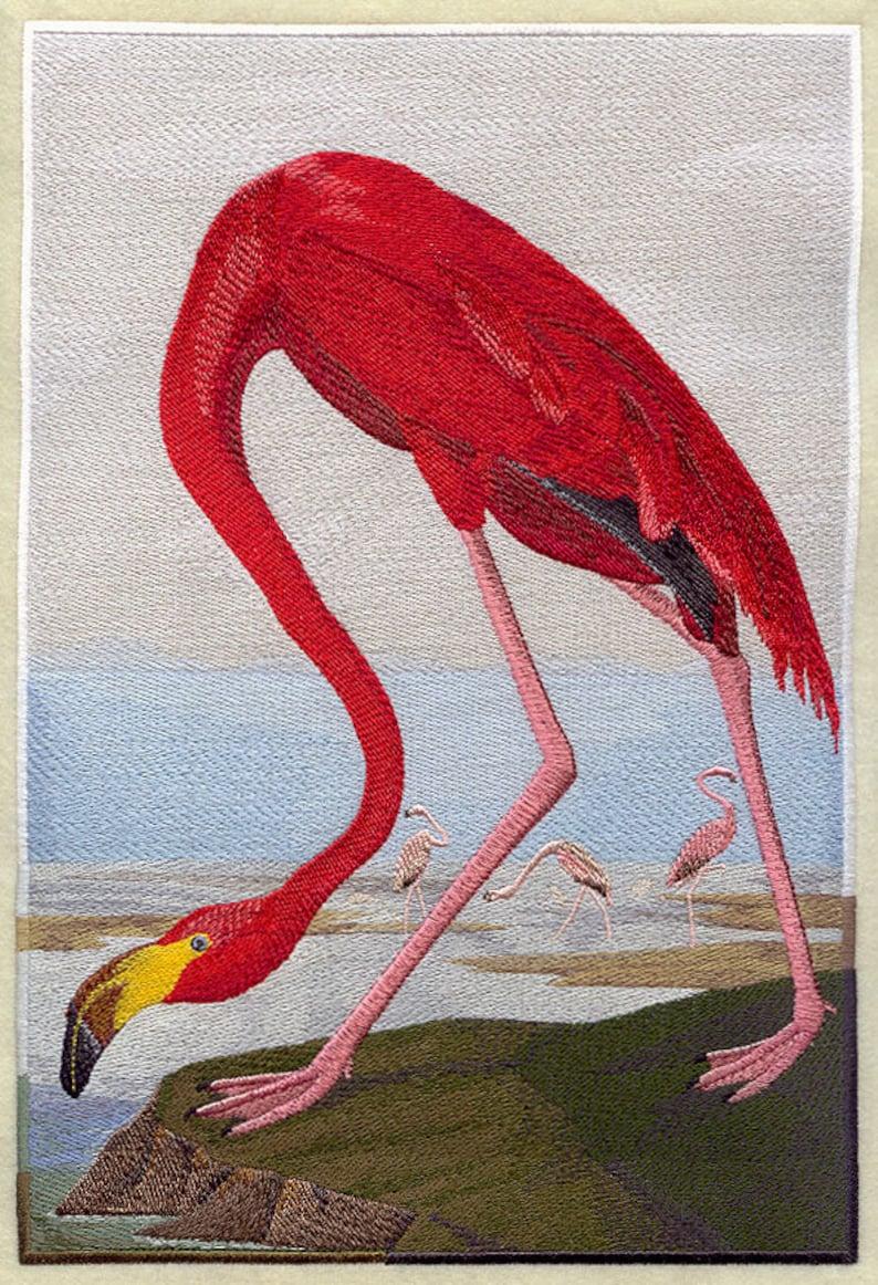 AzEB AMERICAN FLAMINGO Machine Embroidered Quilt Block