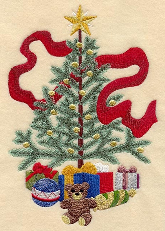 EMBROIDERED  CHRISTMAS TREE QUILT BLOCK