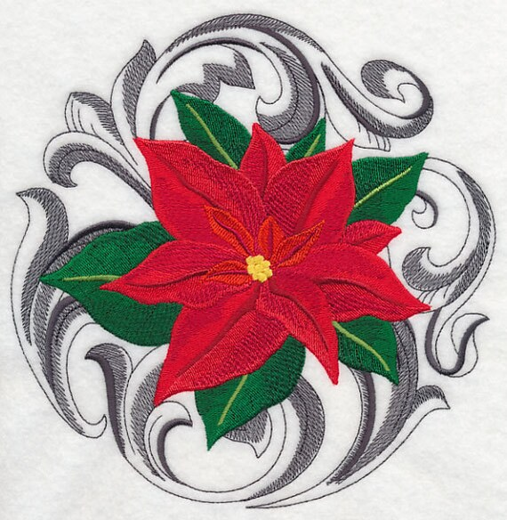 Baroque Christmas Poinsettias Machine Embroidered Quilt Etsy