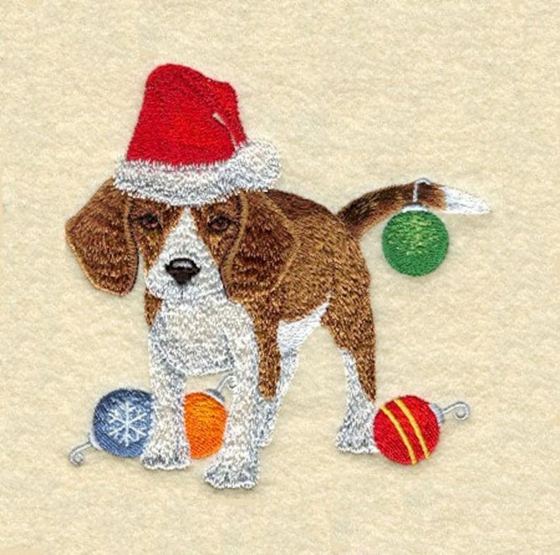 CHRISTMAS BEAGLE AZEB Machine Embroidered Quilt Block
