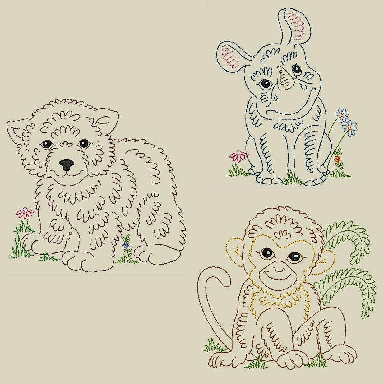 Vintage Baby Animals 1 6inch 10 Machine Embroidery Designs