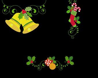 CURLY CHRISTMAS BORDERS & Corners (6inch) - 10 Machine Embroidery Designs Instant Download 6x6 hoop (AzEB)